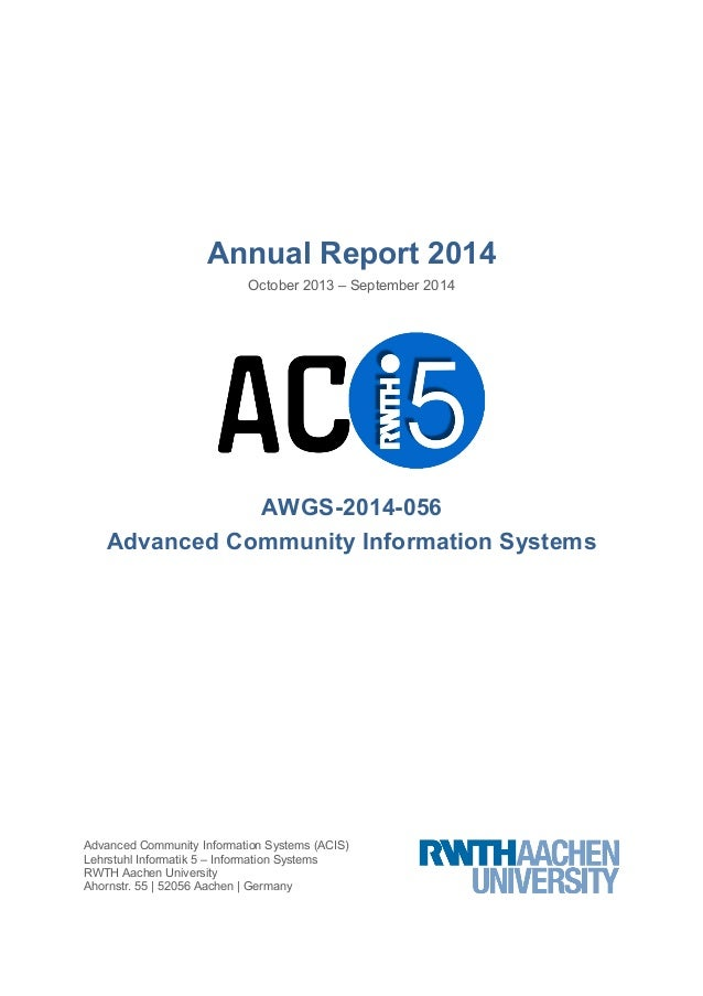 Annual Report 2014  October 2013 – September 2014  AWGS-2014-056  Advanced Community Information Systems  Advanced Communi...