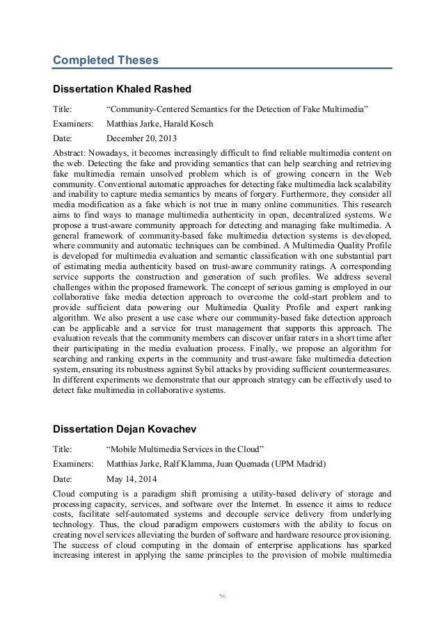 Phd dissertation report