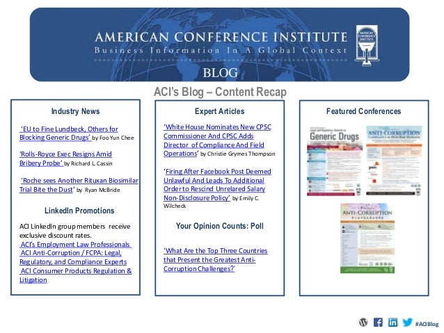 ACI's Blog – Content RecapIndustry News Expert ArticlesYour Opinion Counts: PollFeatured Conferences'White House Nominates...