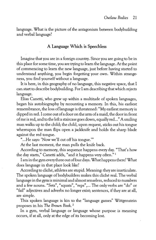 Outlaev Bodies   21language. What is the picture of the antagonism       between bodybuildingand verbal language?         ...