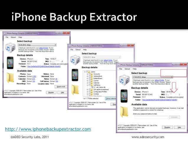 Şifreli  yedek    http://www.iphonebackupextractor.com @ADEO Security Labs, 2011  www.adeosecurity.com
