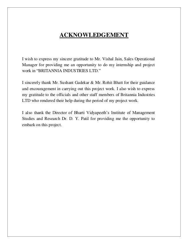 How to write acknowledgement for college project report