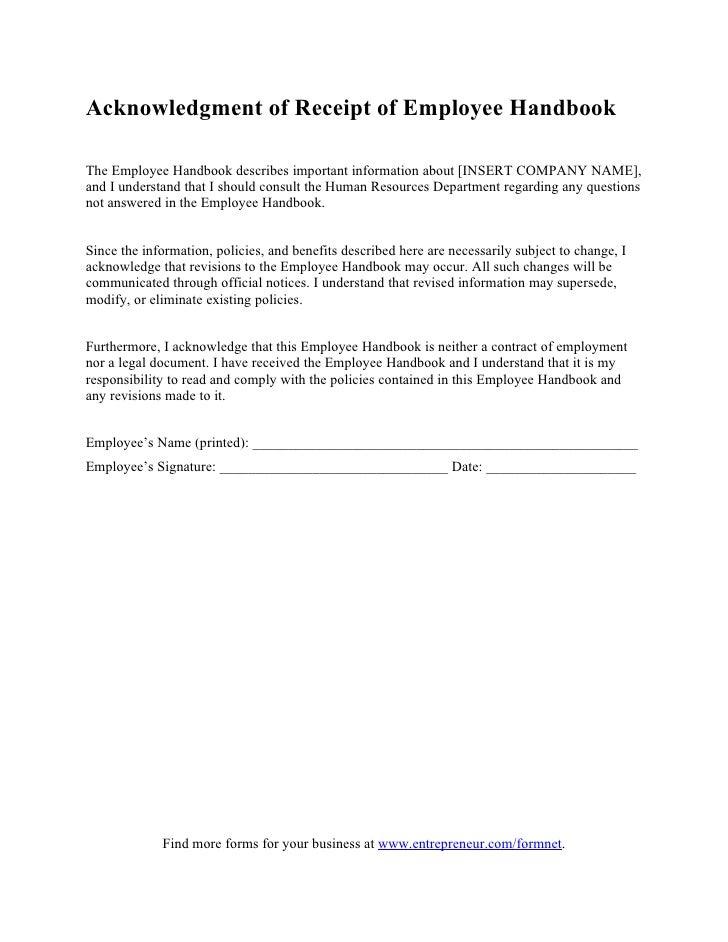 Acknowledgment of receipt of employee handbook