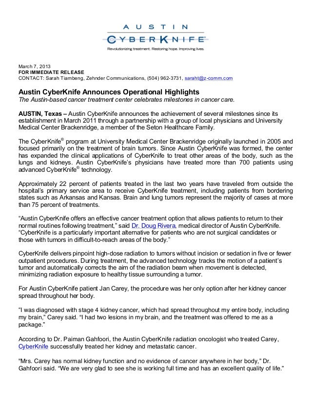 March 7, 2013 FOR IMMEDIATE RELEASE CONTACT: Sarah Tiambeng, Zehnder Communications, (504) 962-3731, saraht@z-comm.com Aus...
