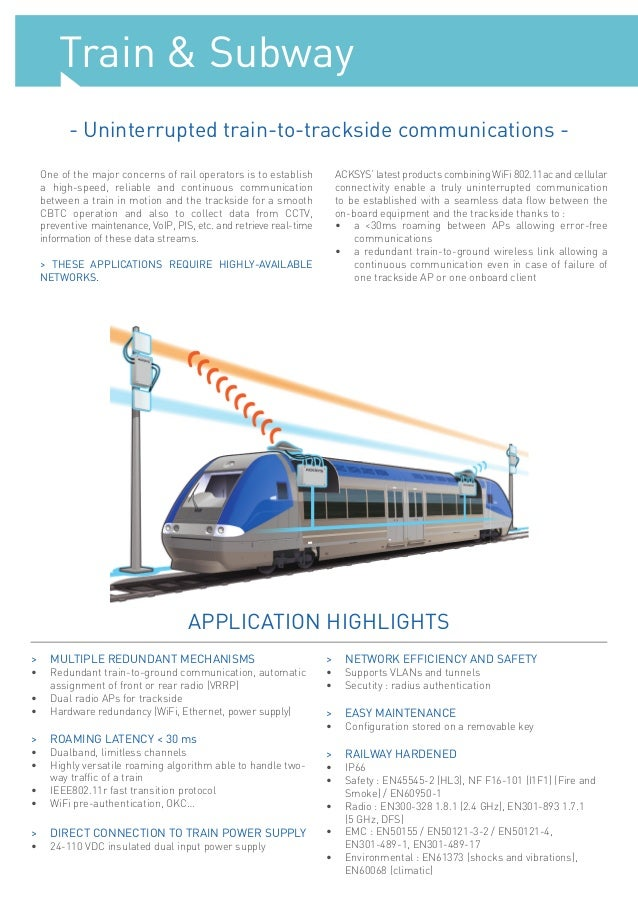 Acksys wireless connectivity train subway market portfolio