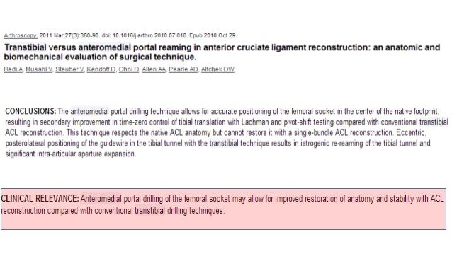 If we try to do a Primary ACL repair then shattered Tibial Bed will not allow ISOMETRIC POINT • If the Tibial Spine Fragme...