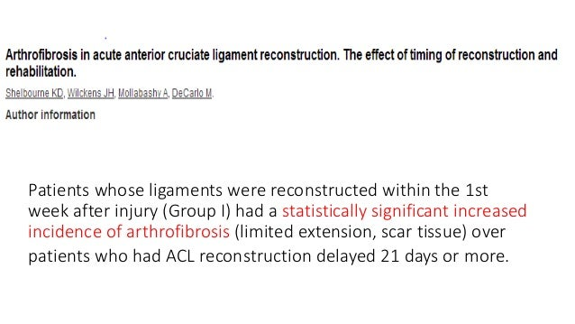Patients whose ligaments were reconstructed within the 1st week after injury (Group I) had a statistically significant inc...
