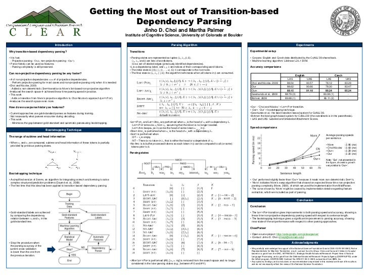 Getting the Most out of Transition-based Dependency ParsingJinho D. Choi and Martha PalmerInstitute of Cognitive Science, ...