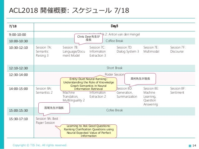 Copyright © TIS Inc. All rights reserved. 14 ACL2018 開催概要: スケジュール 7/18 7/18 Day3 9:00-10:00 Invited Talk 2: Anton van den ...