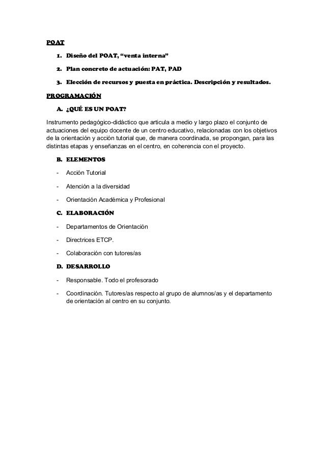 """POAT 1. Diseño del POAT, """"venta interna"""" 2. Plan concreto de actuación: PAT, PAD 3. Elección de recursos y puesta en práct..."""