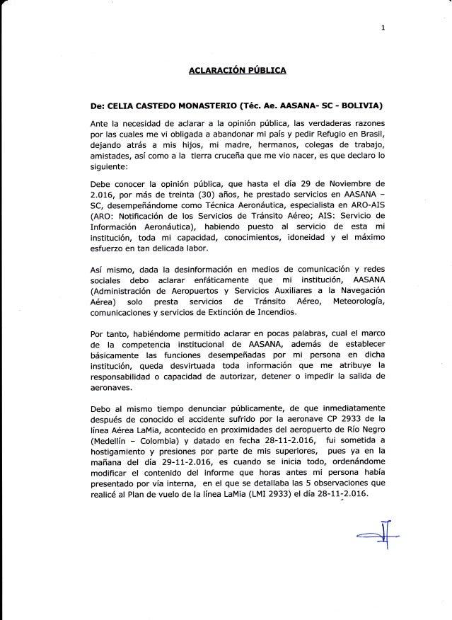 ACLARACION PUBLICA De: CELIA CASTEDO MONASTERIO (Téc. Ae. AASANA- SC - BOLMA) Ante la necesidad de aclarar a la opinión pú...