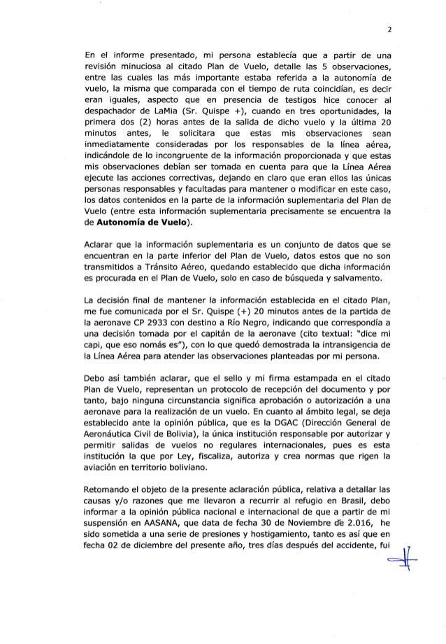 2 En el informe presentado, mi persona establecía gue a partir de una revisión minuciosa al citado Plan de Vuelo, detalle ...