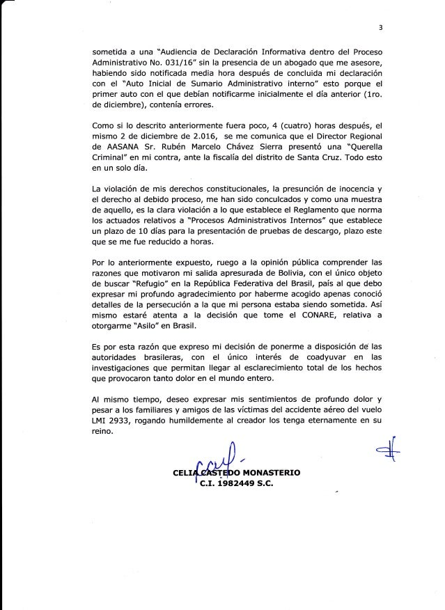 """3 sometida a una """"Audiencia de Declaración Informativa dentro del Proceso Administrativo No. O3L/L6'sin la presencia de un..."""