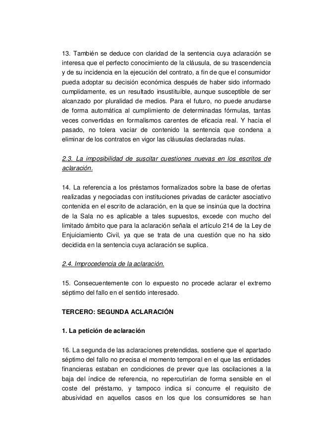 Aclaracion sentencia ts clausulas suelo for Sentencia clausula suelo