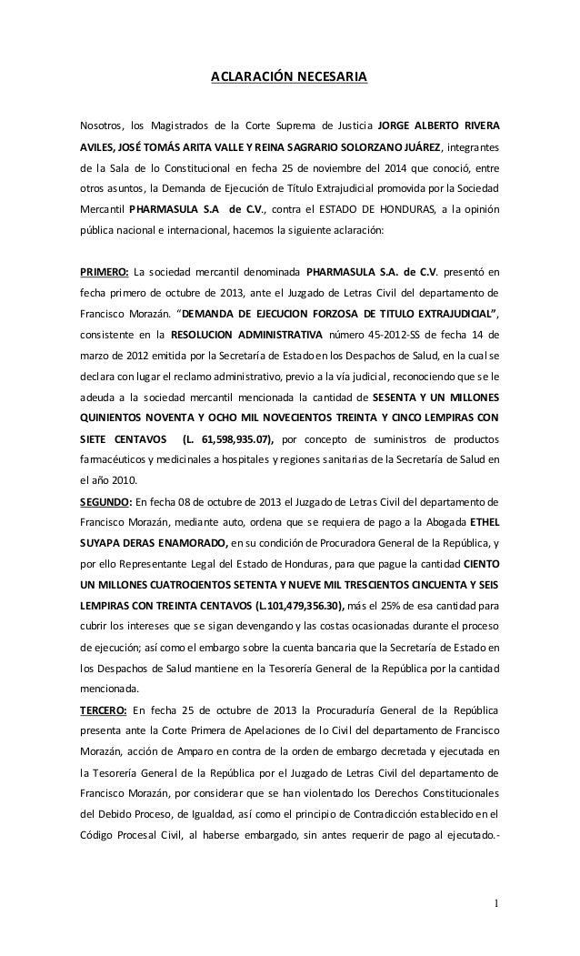 1  ACLARACIÓN NECESARIA  Nosotros, los Magistrados de la Corte Suprema de Justicia JORGE ALBERTO RIVERA  AVILES, JOSÉ TOMÁ...