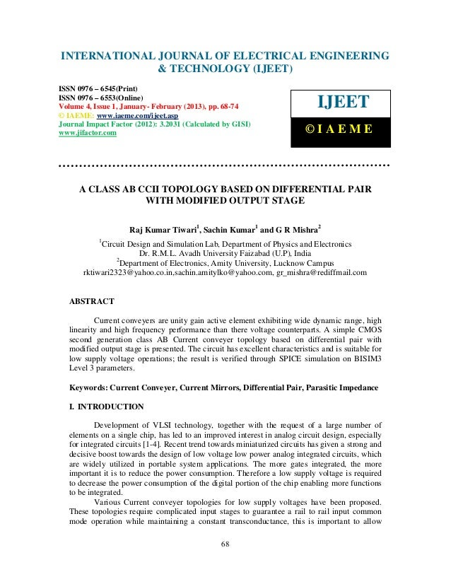 INTERNATIONAL JOURNAL OF Issue 1, January- February (2013), © IAEME– International Journal of Electrical Engineering and T...