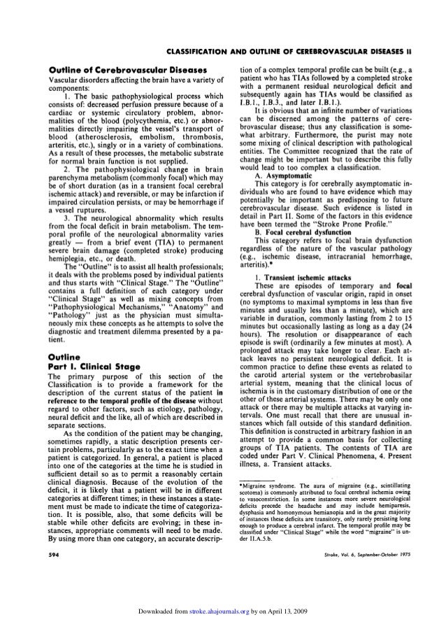 A classification and outline of cerebrovascular diseases ii 1975-stro…