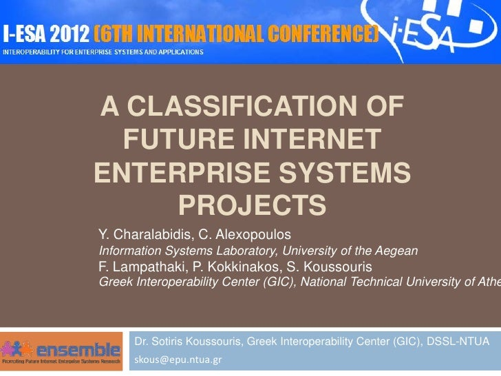 A CLASSIFICATION OF  FUTURE INTERNETENTERPRISE SYSTEMS     PROJECTSY. Charalabidis, C. AlexopoulosInformation Systems Labo...