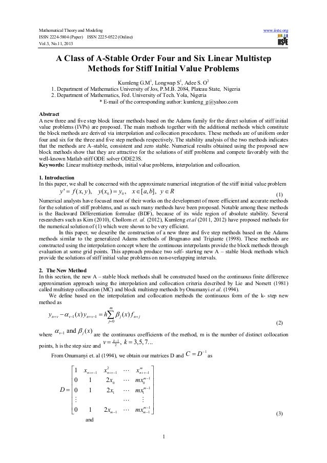 Mathematical Theory and Modeling ISSN 2224-5804 (Paper) ISSN 2225-0522 (Online) Vol.3, No.11, 2013  www.iiste.org  A Class...