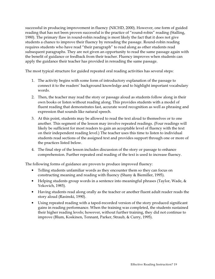 A report on five instructional strategies of increasing reading fluency among students