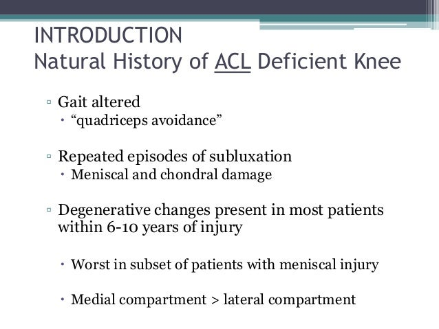 Natural History Of Acl Deficient Knee