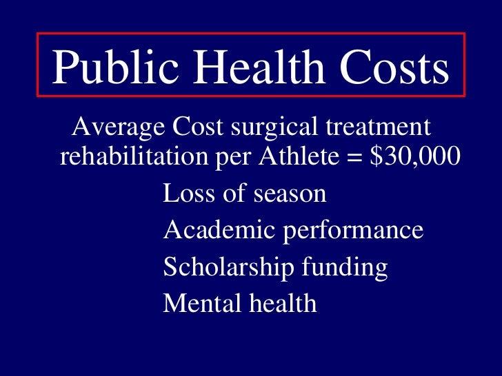 Public Health Costs<br />Average Cost surgical treatment rehabilitation per Athlete = $30,000<br />                    Los...