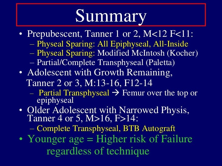 Physeal-Sparing: Modified McIntosh<br />Kocher, Micheli JBJS Am 2005<br />ITB harvested proximally  over the top position...