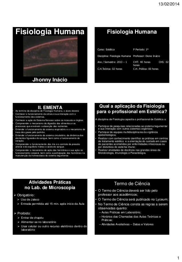 13/02/2014 1 Fisiologia Humana Jhonny Inácio Fisiologia Humana I. IDENTIFICAÇÃO Curso: Estética P Período: 1º Disciplina: ...