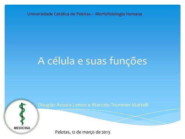 Universidade Católica de Pelotas – Morfofisiologia Humana     A célula e suas funções     Douglas Acosta Lemos e Marcelo T...