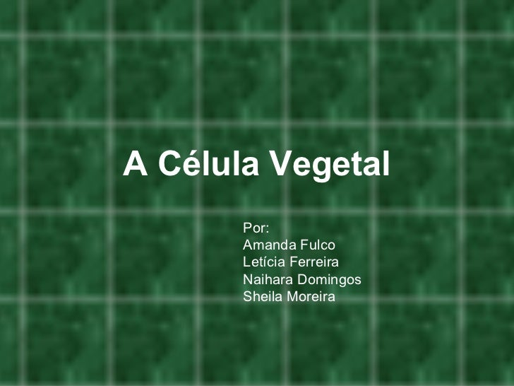 A Célula Vegetal Por: Amanda Fulco Letícia Ferreira Naihara Domingos Sheila Moreira