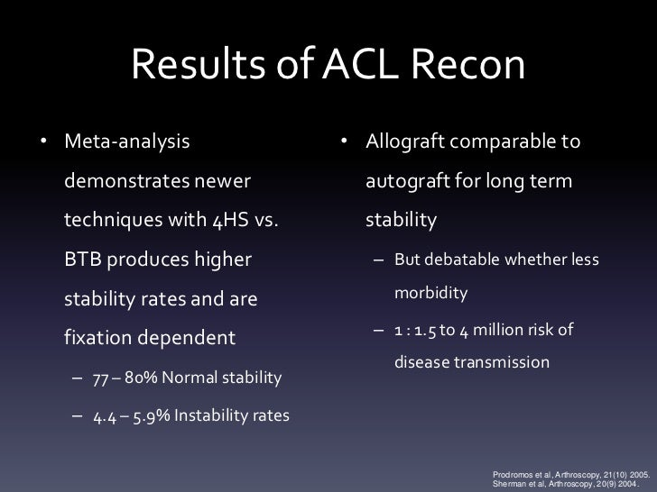 Results of ACL Recon• Meta-analysis                     • Allograft comparable to  demonstrates newer                  aut...