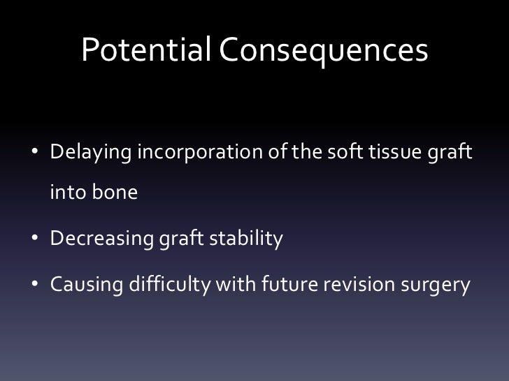 Potential Consequences• Delaying incorporation of the soft tissue graft  into bone• Decreasing graft stability• Causing di...