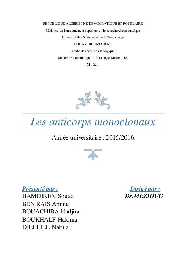 REPUBLIQUE ALGERIENNE DEMOCRATIQUE ET POPULAIRE Ministère de l'enseignement supérieur et de la recherche scientifique Univ...