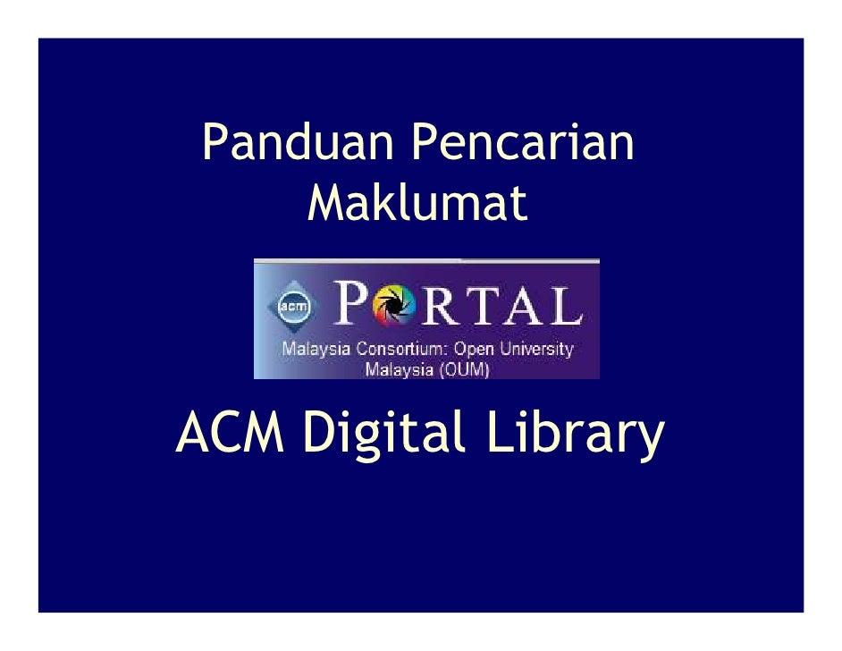 Panduan Pencarian     Maklumat    ACM Digital Library