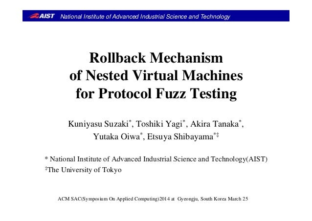 National Institute of Advanced Industrial Science and Technology Rollback MechanismRollback Mechanism of Nested Virtual Ma...