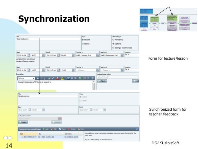 DSV SU/IbisSoft 14 Synchronization Form for lecture/lesson Synchronized form for teacher feedback