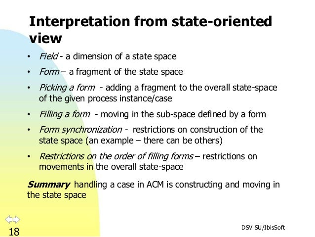 DSV SU/IbisSoft 18 Interpretation from state-oriented view • Field - a dimension of a state space • Form – a fragment of t...