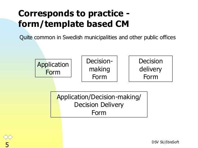 DSV SU/IbisSoft 5 Corresponds to practice - form/template based CM Application Form Decision- making Form Decision deliver...
