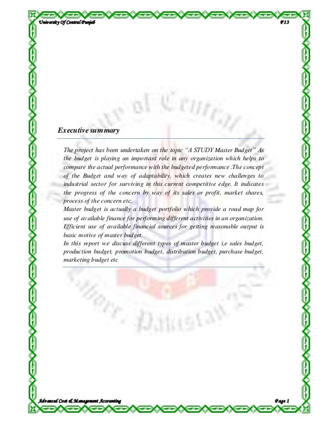 University Of Central Punjab F13 Advanced Cost & Management Accounting P age 1 Executivesummary The project has been under...