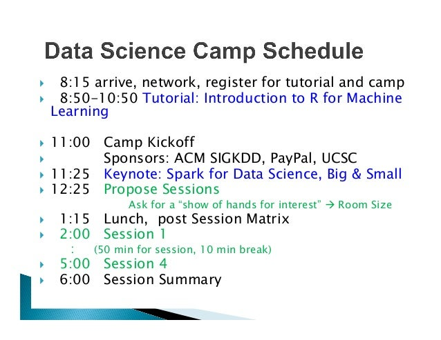 }  8:15 arrive, network, register for tutorial and camp }  8:50-10:50 Tutorial: Introduction to R for Machine Learning }...