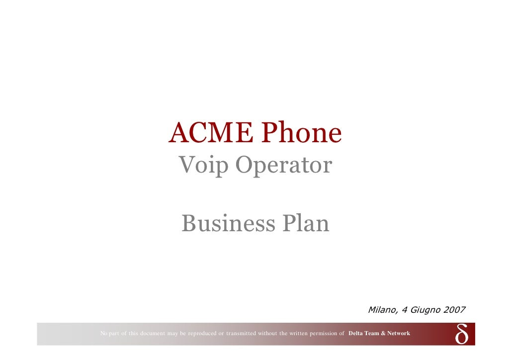 ACME Phone                                   Voip Operator                                     Business Plan              ...