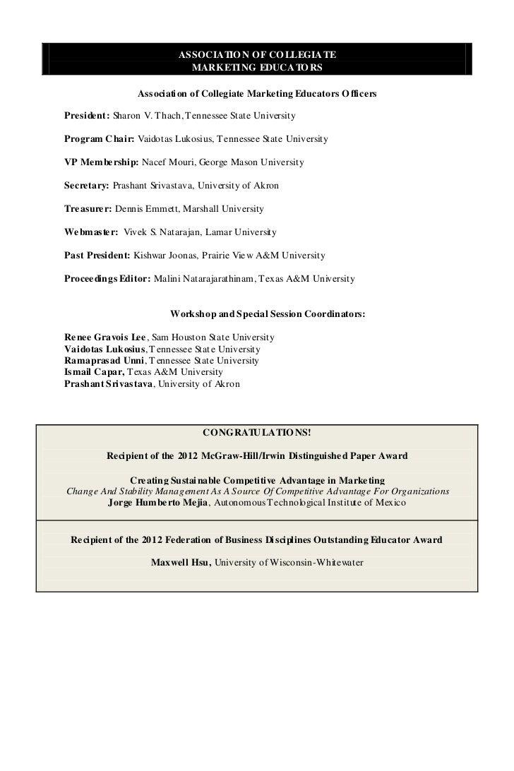 ASSOCIATIO N O F CO LLEGIATE                              MARKETING EDUCATO RS                  Association of Collegiate ...
