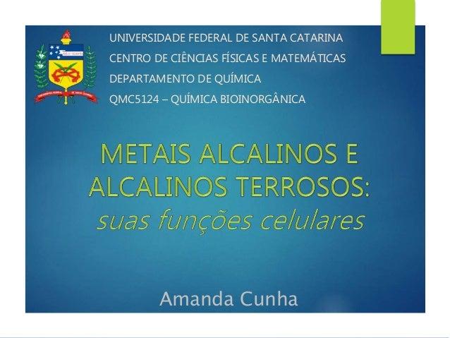 Amanda Cunha UNIVERSIDADE FEDERAL DE SANTA CATARINA CENTRO DE CIÊNCIAS FÍSICAS E MATEMÁTICAS DEPARTAMENTO DE QUÍMICA QMC51...
