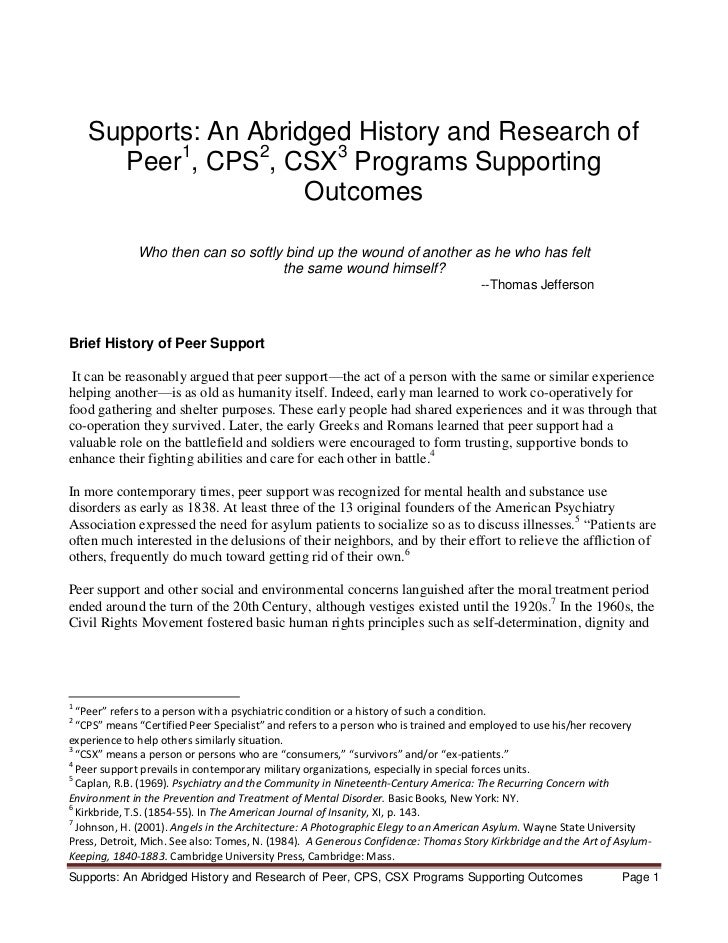 Supports: An Abridged History and Research of      Peer1, CPS2, CSX3 Programs Supporting                      Outcomes    ...