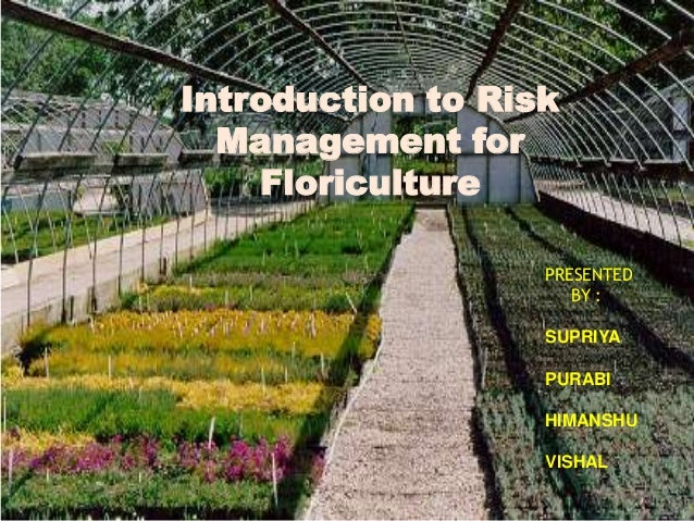 Introduction to Risk  Management for    Floriculture                   PRESENTED                      BY :                ...