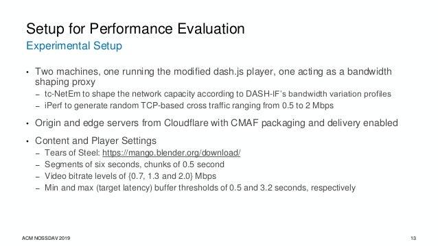 Schemes Implemented ACM NOSSDAV 2019 14 Setup for Performance Evaluation Bandwidth Measurement ABR Schemes Throughput-base...