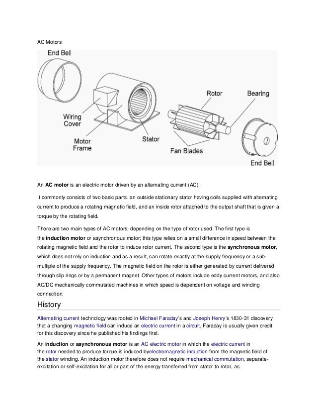 AC Motors  An AC motor is an electric motor driven by an alternating current (AC). It commonly consists of two basic parts...