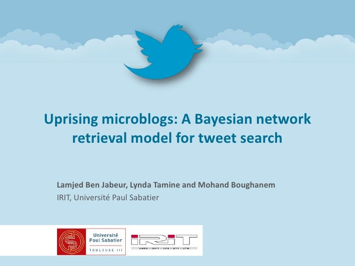 Uprising microblogs: A Bayesian network    retrieval model for tweet search Lamjed Ben Jabeur, Lynda Tamine and Mohand Bou...