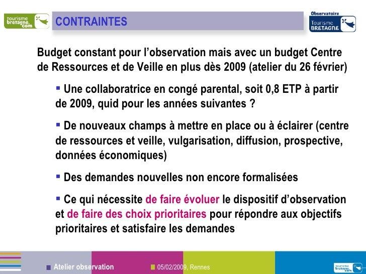 <ul><li>Budget constant pour l'observation mais avec un budget Centre de Ressources et de Veille en plus dès 2009 (atelier...