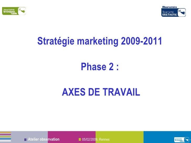 Stratégie marketing 2009-2011   Phase 2 :  AXES DE TRAVAIL